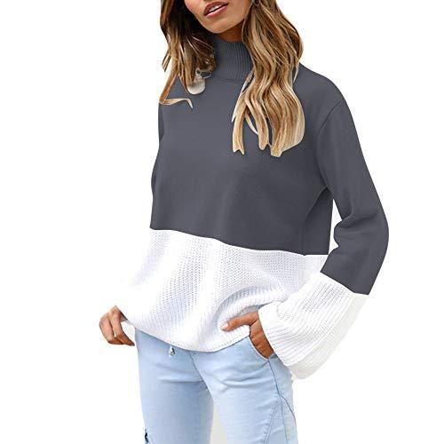 Franterd Women Color Block Patchwork Turtleneck Knitted Sweater Loose Bell Sleeve Jumper Pullover Blouse Sweatshirt