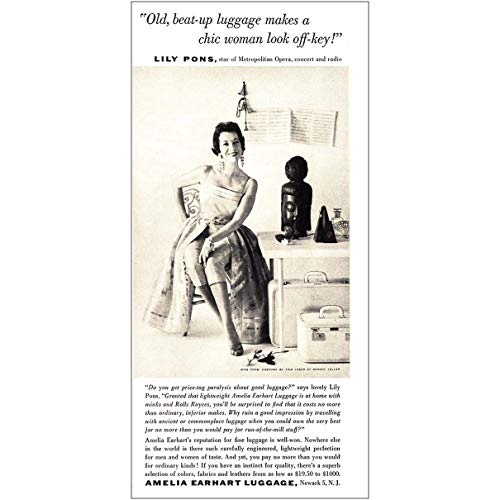1955 Ameilia Earhart Luggage: Lily Pons, Amelia Earhart Luggage Print Ad