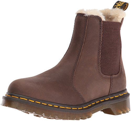 Dr. Martens Leonore Burnished Wyoming Leather Fashion Boot Dark Brown Grizzly