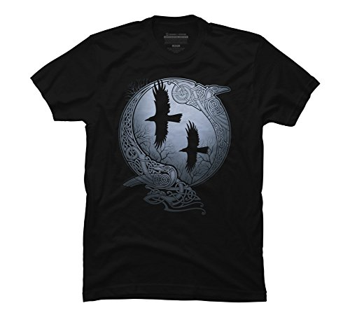 Design By Humans Odin's Ravens Men's Large Black Graphic T (Knotwork Design)