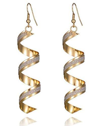 - Fashion Women Party Spiral Strip Hook Dangle Earrings (Golden)
