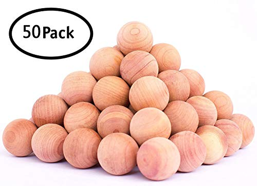 50pcs Natural Cedar Wood Moth Protection Cedar Balls Moth Repellent Clothes Bedding Blankets Storage Closet Drawer Mildew Mold (Office Unfinished Armoire)
