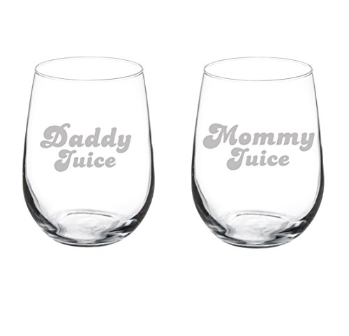 Set of 2 Wine Glasses Funny Parents Mommy Daddy Juice (17 oz Stemless)