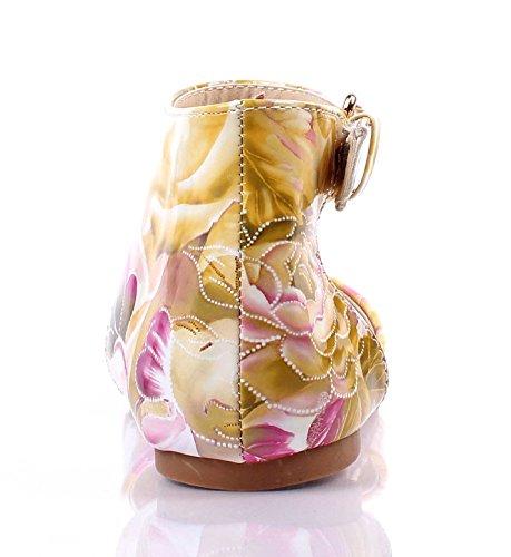 Stampa Floreale Casual Lady Caviglia Strappy Point Toe Moda Donna Ballerine Taglia Senza Scatola Gialla