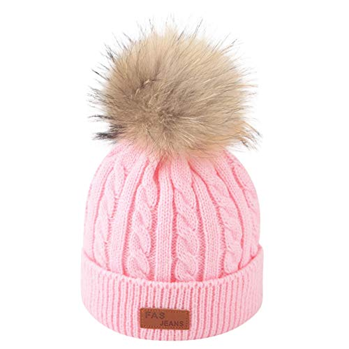Longay Toddler Kid Girl&Boy Baby Infant Winter Crochet Knit Hat Beanie Hairball Cap (Pink)
