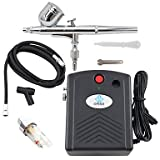WST Airbrush Kit with Black Mini Air Compressor Air Filter for Temporary Tattoo Body Nail Paint