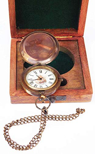 (Sara Nautical Brass Ship Pocket Watch Brass Chain Clock with Hardwood Wooden Box)