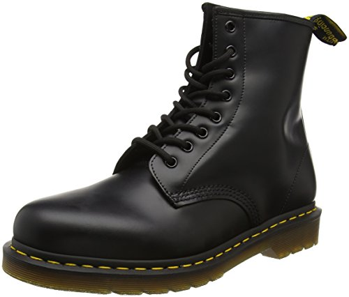Dr. Martens - Stivali 1460 Smooth, Unisex adulto, Rosso (rouge cherry red)), 47, Black Leather, 40.5 (7 UK)