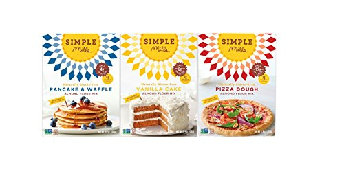 Simple Mills Variety Pack Almond Flour Baking Mixes, Gluten Free, Paleo, Natural, Pancake & Waffle, Vanilla Cake & Cupcake, Pizza Dough (Pack of 3) (Pizza Dough Paleo compare prices)