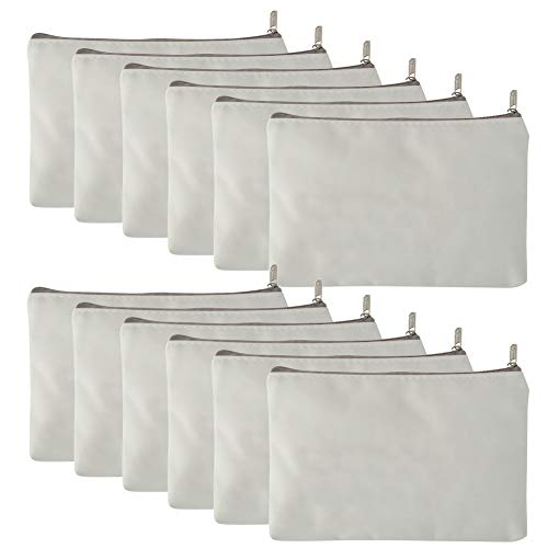 Aspire 12-Pack White Canvas Zipper Bags for Painting DIY Fabric Bag 6 3/4