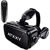 VR Headset,3D Virtual Reality headsets with Remote Controller 3D VR Goggles with Stereo Headphone for 3D Movies & VR Games, Fit for 4.7-6.2 inch iOS/Android Smartphone