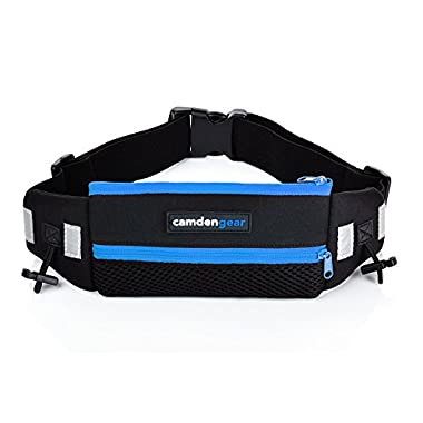 Camden Gear Running Belt, Fits iPhone 6 6S Plus and Android Smartphone, Perfect for Waist Sizes, Men and Women, Blue