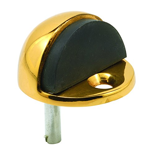 Prime-Line J 4554 Floor Mount Door Stop, Dome Type, 1 in Tall, Solid Brass with Polished Brass Finish, Pack of 1