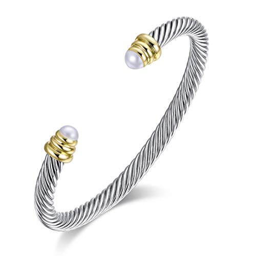 Ofashion Brass Alloy Cable Wire Pearl Cuff - Designer Bangle Pearl