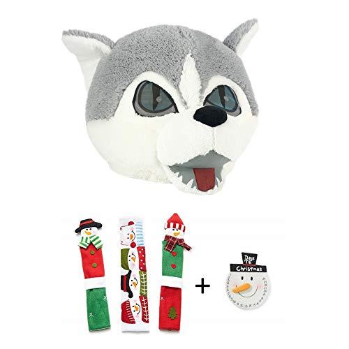 Maskimals Oversized Plush Halloween Mask - Wolf and Snowman Kitchen Appliance Handle Covers & Snowman Countdown Calendar