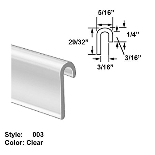 Food-Grade Vinyl Plastic J-Channel Push-On Trim, Style 003 - Ht. 29/32'' x Wd. 5/16'' - Clear - 8 ft long by Gordon Glass Co.