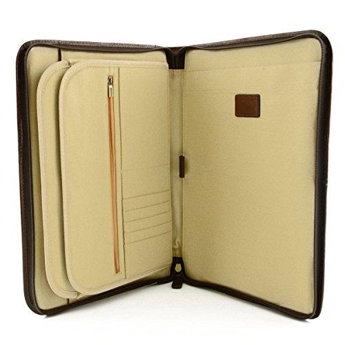 A4 Konferenzmappe Aus Echtem Leder, Mit Inneren Abteilen Farbe Braun - Italienische Lederwaren - Aktentasche