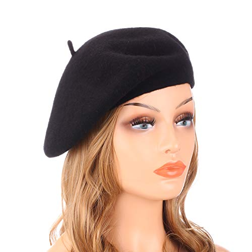 Scottish Themed Halloween Costumes (Wheebo Wool Beret Hat,Solid Color French Style Winter Warm Cap for Women)