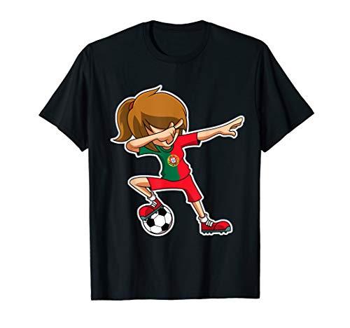 Dabbing Soccer Girl Portugal Jersey, Portuguese Kids T-Shirt
