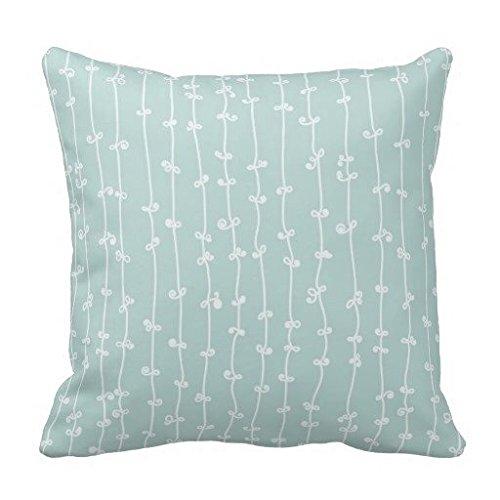 Pale Blue Spring Floral Vine Pillow Case