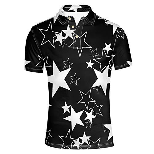 - HUGS IDEA Classic Men's Poloshirts Fashion Star Black and White T-Shirt Sport Golf Bowling Tees
