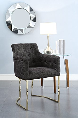 Amalfi Dining Chair - Chic Home Amalfi Accent Chair Button Tufted Linen Upholstered Polished Brass Solid Metal Frame, Modern Contemporary, Black