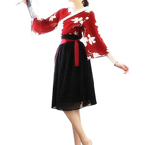 Women's Chinese Traditional Hanfu Costume Vintage Chiffon Dress Red Floral Kimono Coplay Jacket Knee Length Skirt Outift (Red)