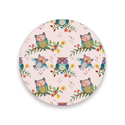 Ceramic Coaster Set of 4 Absorbent Coaster with Protective Cork Base Cute Owl Animals Coasters for Drinks Coffee Mug Glass Cup Place Mats Home Decor Style (Cork Owl Placemat)