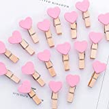 SaveStore Heart Binder Clips Wooden Clamp Clips for Photos Albums Office School Paper Supplies Cute