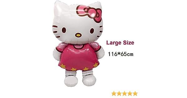 116 * 65 cm gran tamaño Hello Kitty Cat Foil Globos para decoración de cumpleaños boda fiesta hinchable
