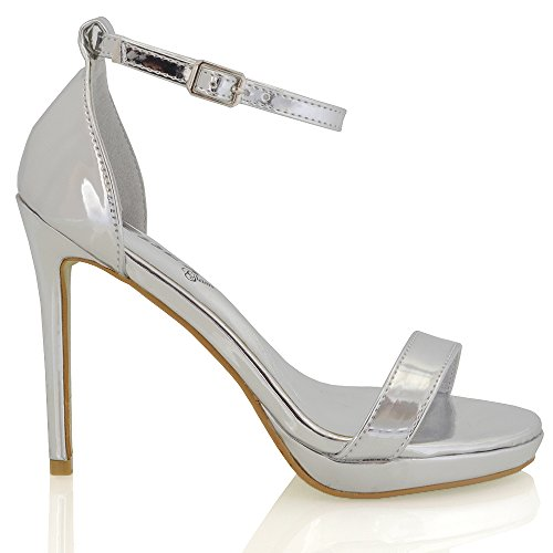 ESSEX GLAM Womens Platform High Heel Peep Toe Ankle Strap Sandals Shoes (US 7, Silver ()