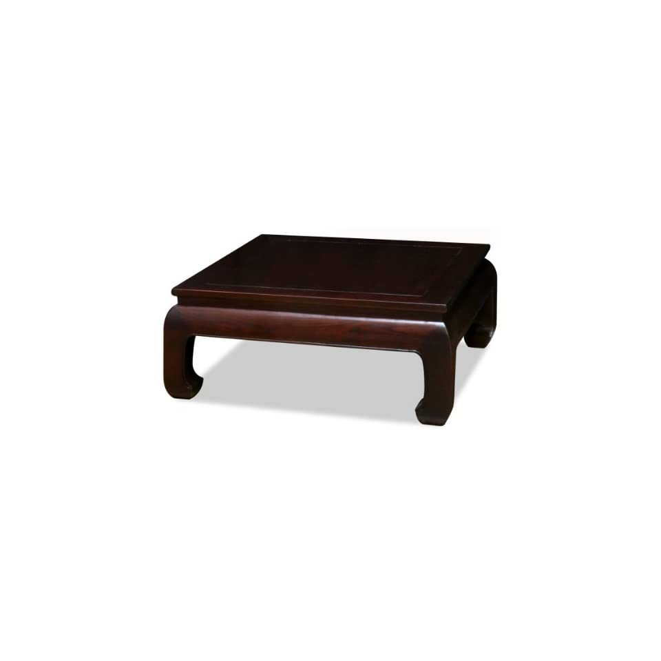 36in Hand Crafted Ming Style Square Coffee Table   Dark Espresso