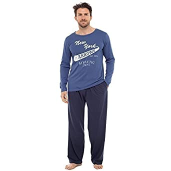 f24afac83c9869 Herren Pyjama Set Langarm-top & Hosen Baumwoll Schlafanzug - Marineblau New  York Pfeile,. Insignia
