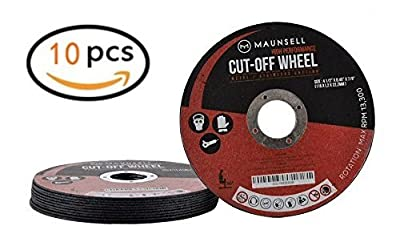 "Maunsell 10 Pack - Professional 4 1 2 Cutting Wheels For Grinders - For Metal & Stainless Steel/INOX - 4 1/2"" x 045"" x 7/8-Inch 