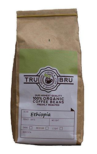 Tru Bru 100% Organic Ethiopia Fresh Roast Whole Bean - 12 Ounce Bag - Roasted Same Day As Order