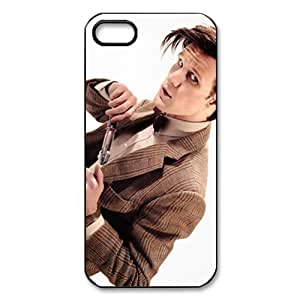 Movie Series Slim-fit DIY Mobile Snap-on Back Case Cover For iPhone 5,5s-Matt Smith Man White Background Doctor Who/Black Shell