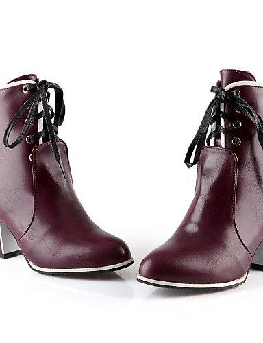 Zapatos Xzz Uk4 Botas Cuero Mujer us8 7 5 Casual Vestido Uk6 Trabajo Cn37 Eu37 negro 5 5 Eu39 Cerrada Punta Cn39 Tacón Sintético Y Robusto Brown De Brown Puntiagudos Oficina us6 dwwq8rp