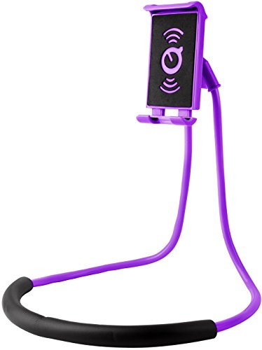 (GPCT Lazy Cell Phone Neck Holder. 360° Rotatable, Universal Phone Stand, Flexible Long Neck Bracket Rotating Gooseneck Mount- iPhone/Samsung/Tablet/iPad/Desk/Bed/Bike/Motorcycle/Kitchen- Purple)