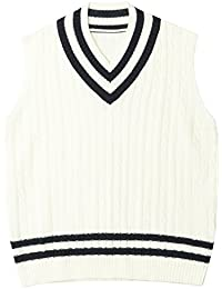ililily Men Striped V-neck Cable Knit Tennis Sweater Vest Sleeveless Pullover