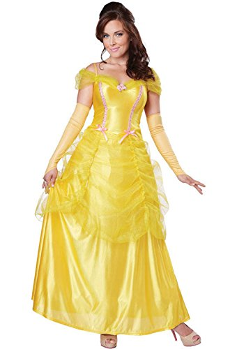 [Mememall Fashion Classic Beauty Princess Belle Beauty and the Beast Adult Costume] (Classic Jason Costume)