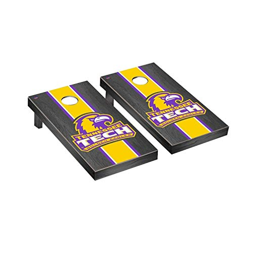 Victory Tailgate Regulation Collegiate NCAA Onyx Stained Stripe Series Cornhole Board Set - 2 Boards, 8 Bags - Tennessee Technological University TTU Golden - Tennessee Technological University