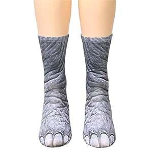 Calcetines de pata de animal, Creazy Mujer Hombre Adulto Unisex calcetines de pata de animal impresión sublimada
