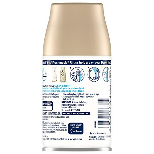 Glade Automatic Spray Refill, Air Freshener for Home and Bathroom, Clean Linen, 6.2 Oz, Pack of 1