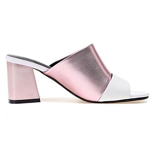 Hauts Mode La Été Contre Pantoufles Chaussures Extérieure À Sandales Usure Rose Couleur Lutter Talons Femme Rugueux 8tfwnq