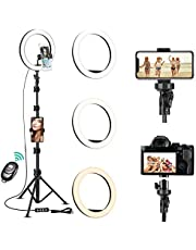 "10"" Selfie Ring Light with Tripod Stand & Cell Phone Holder for Live Stream/Makeup/YouTube Video/Photography, Dimmable Ring Light Kit with 3 Colors & 11 Brightness, Compatible with iPhone and Android"