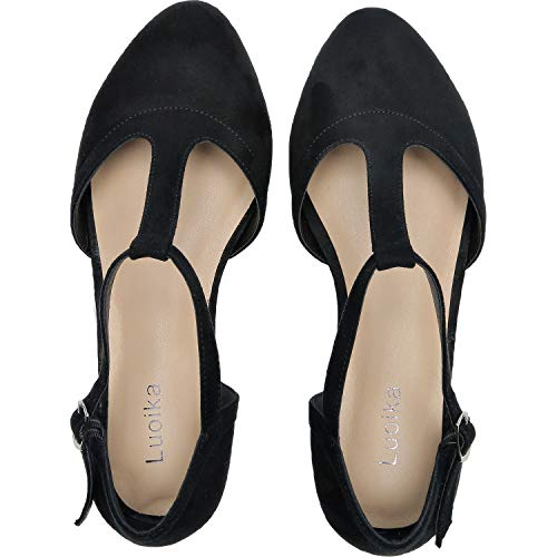 (Luoika Women's Wide Width Flat Sandals - Flexible Buckle T-Strap Pointy Toe Cozy Summer Shoes.(181147,Black,8.5))