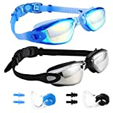 Swim Goggles Swimming Goggles, Pack of 2 Professional Anti Fog No Leaking UV Protection Swim Goggles for Women Men Adult Youth (05(Black Silver Mirrored lenses & Blue Blue Mirrored lenses)
