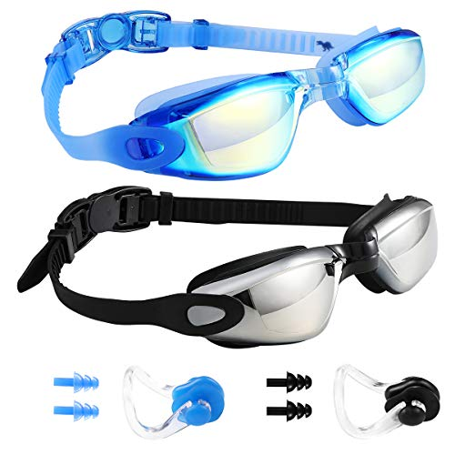 Swim Goggles Swimming Goggles, Pack of 2 Professional Anti Fog No Leaking UV Protection Swim Goggles for Women Men Adult Youth (05(Black Silver Mirrored lenses & Blue Blue Mirrored ()