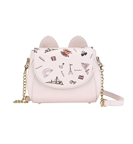Tom Clovers Womens Girls Cute Cat Ears Cartoon Patterns Small PU Leather Handbag Cross Body Shoulder Bag Sling
