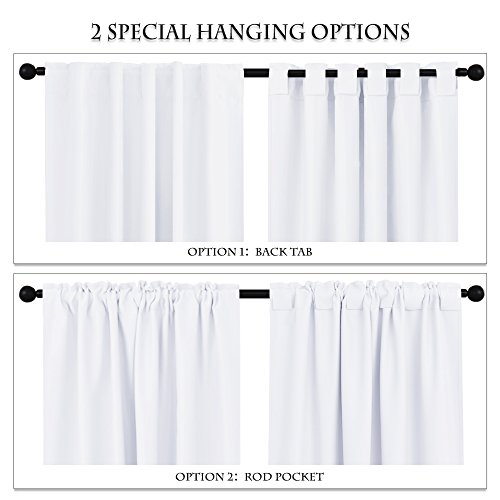 PONY DANCE White Window Curtains – 42 W x 84 L, Pure White Living Room Curtain Drapes Energy Saving Back Tab Window Treatments Thermal Insulated Panels for Home Decoration, 2 PCs